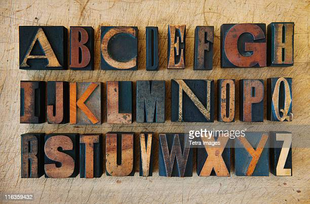 close up of alphabet on letterpress - font stock pictures, royalty-free photos & images