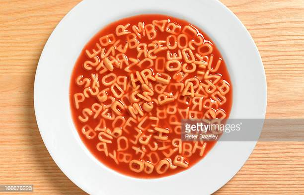 Close up of alphabetic spaghetti
