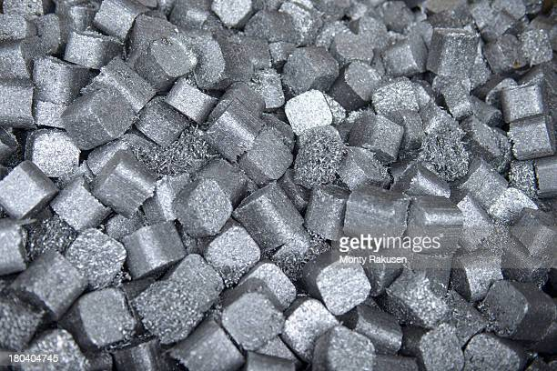 Close up of aluminium scrap in aluminium recycling plant