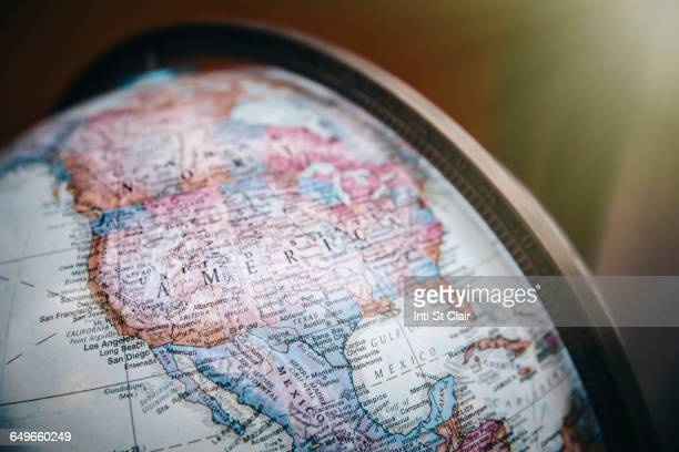 Close up of America on globe