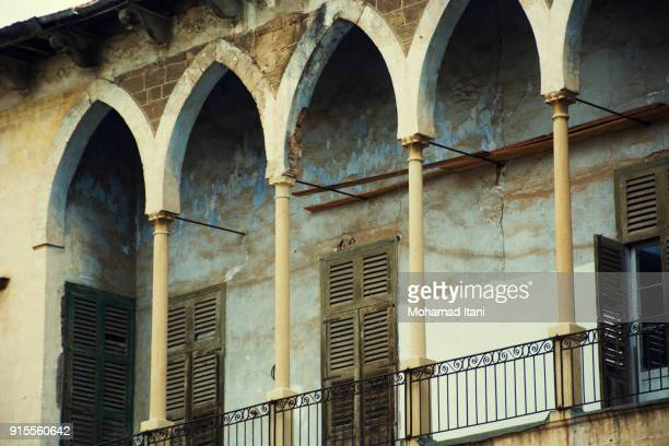 close up of an abandoned derelict house - old beirut stock photos and pictures