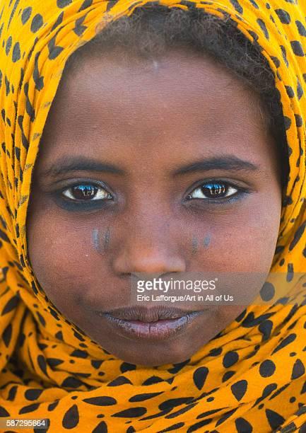Close up of an afar tribe girl afar region assayta Ethiopia on March 1 2016 in Assayta Ethiopia