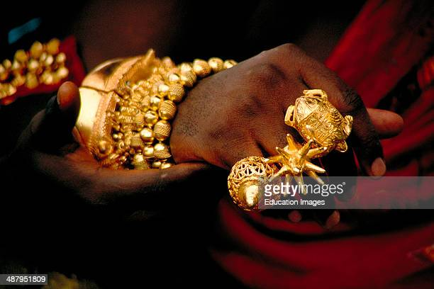 Close up of an Akan king's hand showing traditional Ashanti rings made of pure gold Such displays of wealth are a common sight at Durbars traditional...