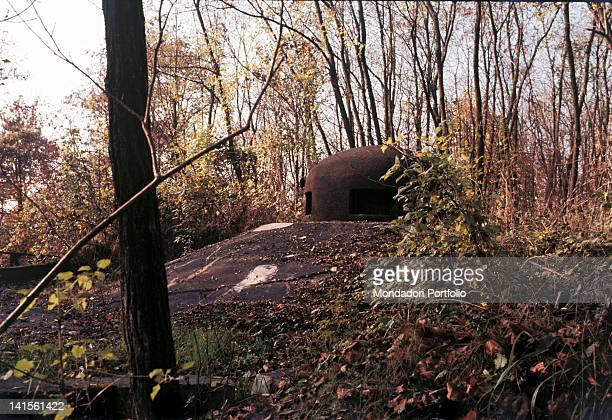 Close up of an armoured turret of the Maginot Line in the Cattenom forest France October 1968