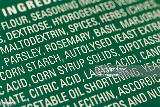 Close up of an ingredients list
