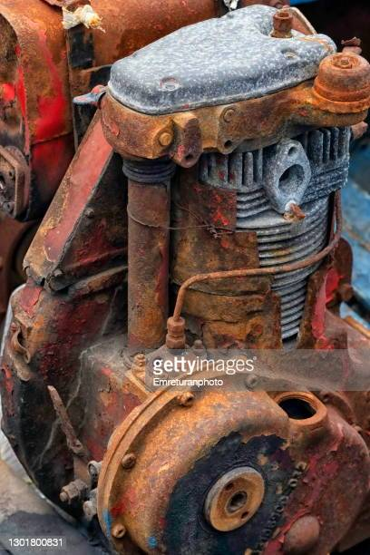 close up of an old rusty boat engine. - emreturanphoto stock pictures, royalty-free photos & images