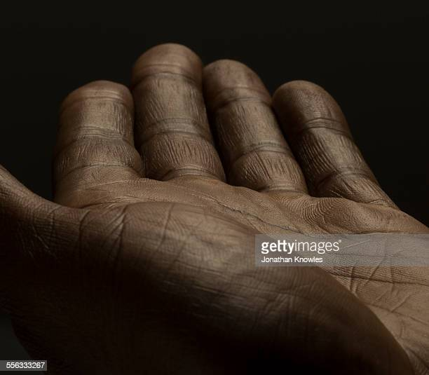 Close up of an open male hands, dark skin