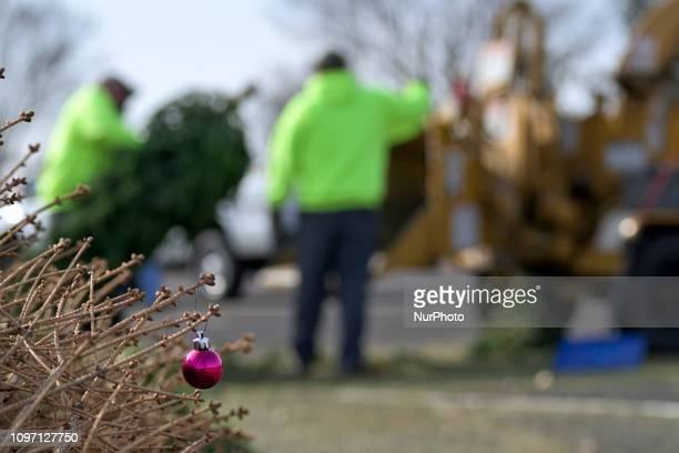 Close up of an ornament on a branch as while the background municipal workers grind Christmas trees from the past holiday season in a woodchipper at...