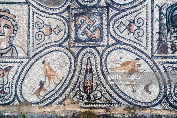 Close up of ancient tile mosaic