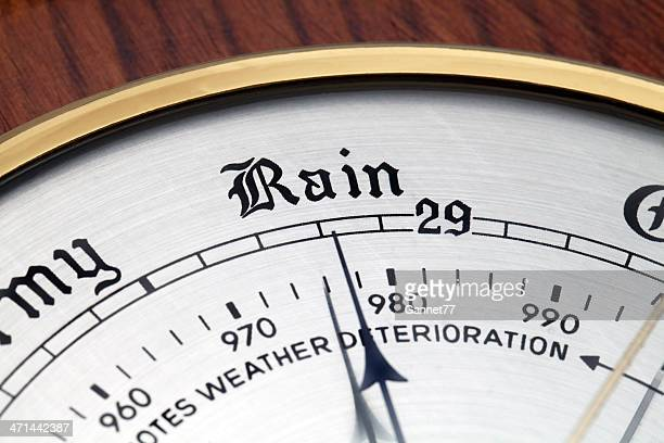 Close up of Aneroid Barometer at 'Rain'
