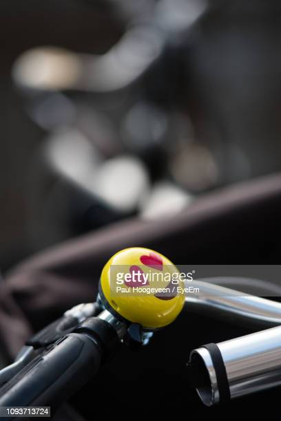 close up of anthropomorphic face on handlebar of bicycle - hoogeveen stock pictures, royalty-free photos & images