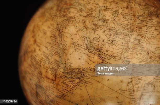 close up of antique globe - mappamondo foto e immagini stock