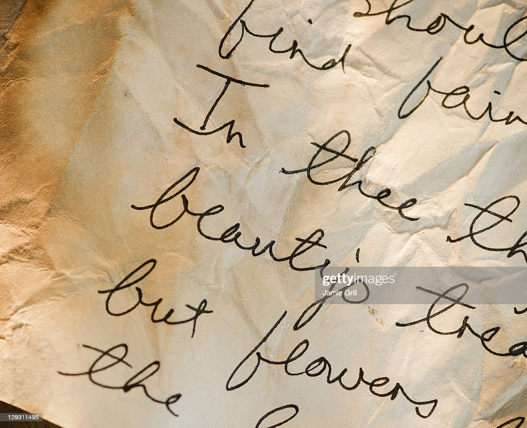 Close up of antique love letter on parchment  : Stock Photo
