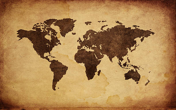 Close Up Of Antique World Map Wall Art