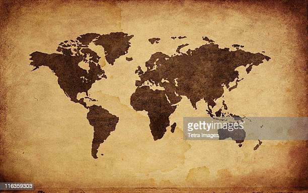 close up of antique world map - world map stock photos and pictures