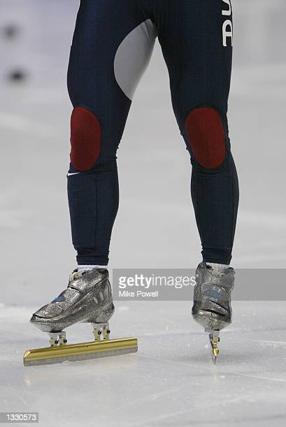 A close up of Apolo Anton Ohno's skates in the men's 500m speed skating heats during the Salt Lake City Winter Olympic Games on February 23 2002 at...