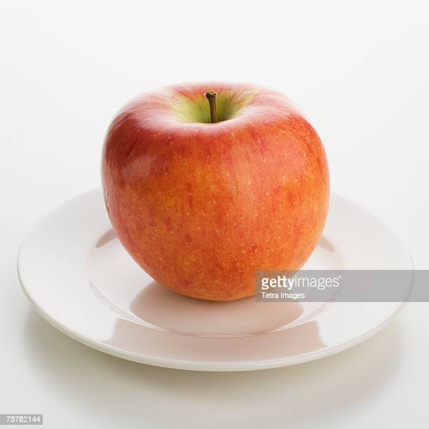 Close up of apple on plate