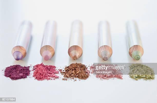 Close up of assorted makeup pencils