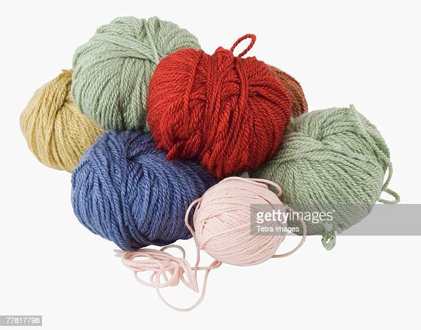 Close up of assorted yarn