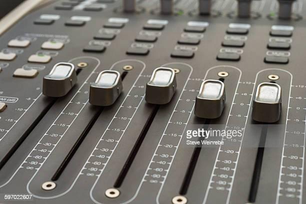 Close up of audio recording mixer