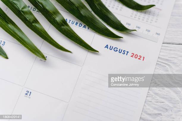 close up of august 2021 calendar - 2021 stock pictures, royalty-free photos & images