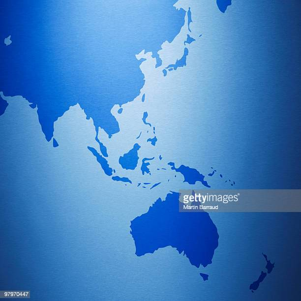 close up of australia and southeast asia on map - asia pac stock pictures, royalty-free photos & images