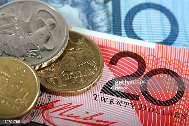 Close Up of Australian Cash Notes and Coins