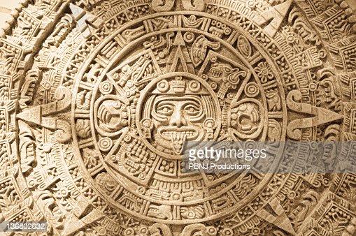 Close Up Of Aztec Calendar Stone Carving Stock Photo