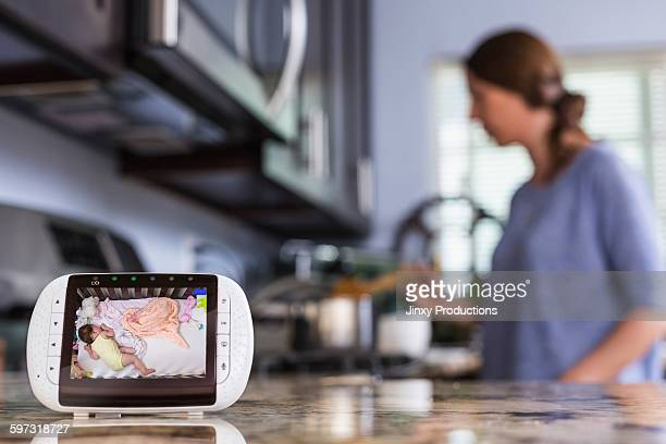 Close up of baby monitor in kitchen