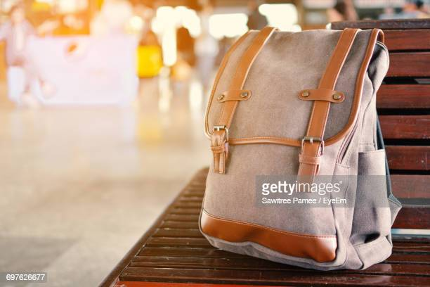 Close Up Of Backpack On A Wooden Bench