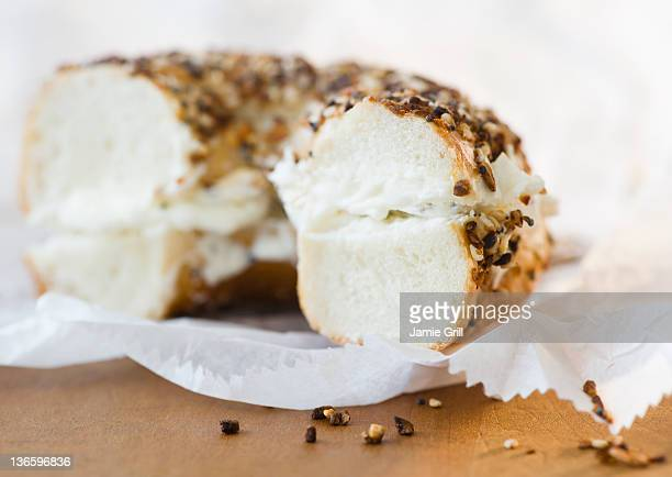 Close up of bagel with cream cheese