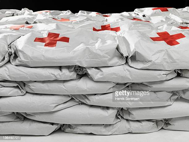 close up of bags with emergency Aid