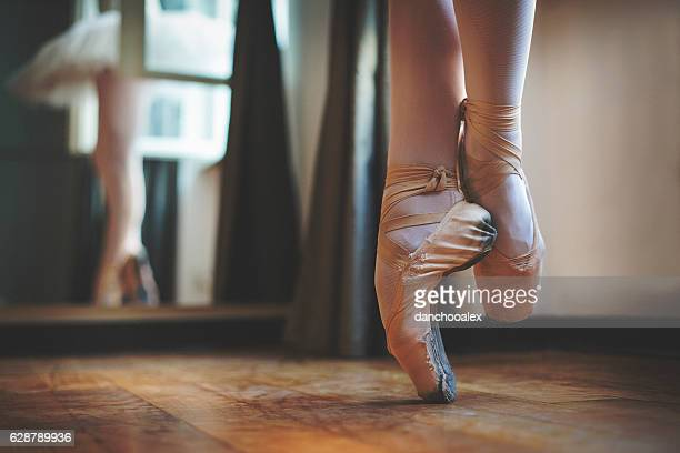 close up of balerina feet - beautiful female feet stock photos and pictures