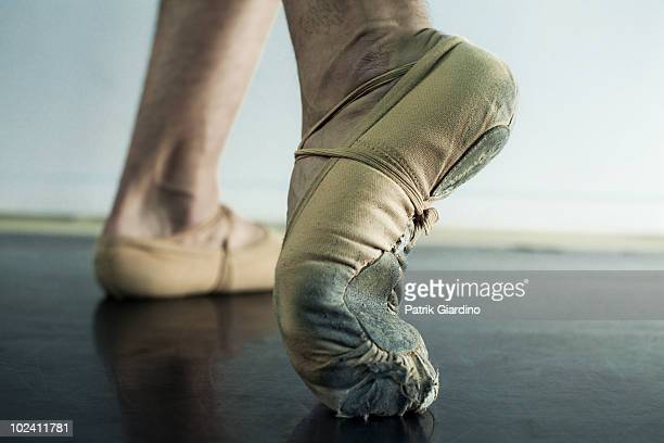 Close up of Ballet dancers feet in toe shoes