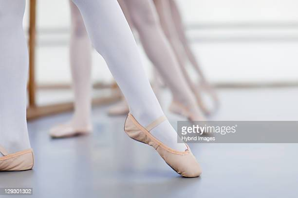 Close up of ballet dancersÍ feet