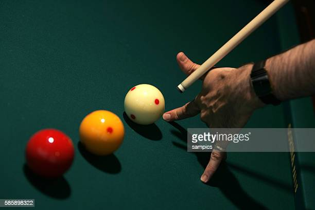 Close up of balls cue and table at a match of Snooker during the 2005 World Games held in Duisburg Germany