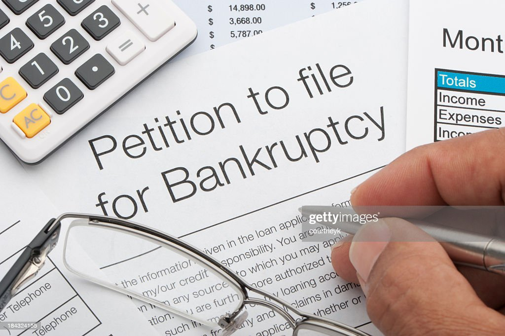 Close up of bankruptcy petition : Stock Photo