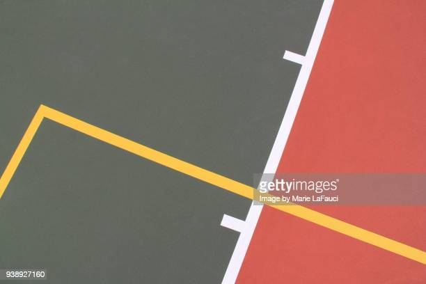 close up of basketball court lines - flooring stock photos and pictures