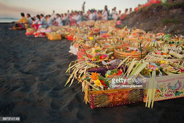 close up of baskets of flowers on beach - melasti stock photos and pictures