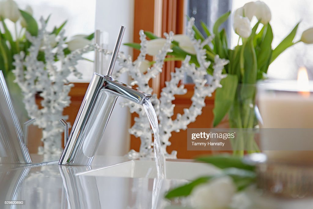 Close up of bathroom sink and flowers : Stock Photo
