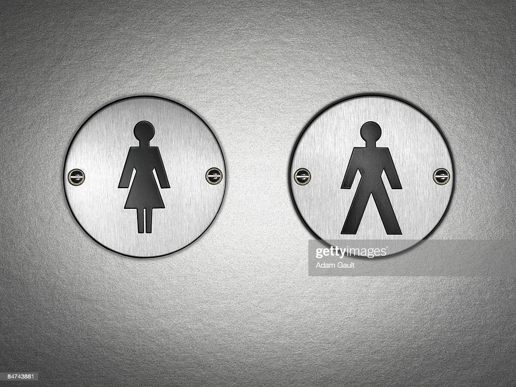 Close up of bathroom symbol : Stock Photo