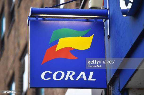 Close up of betting company, Coral logo on November 20, 2020 in Newcastle-Under-Lyme, England.