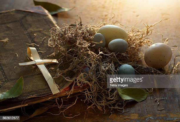 Close up of Bible and Easter eggs