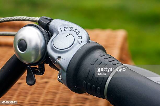 Close up of bike bell and grip shift / shifter on handlebar of pedelec / e-bike / electric bicycle.