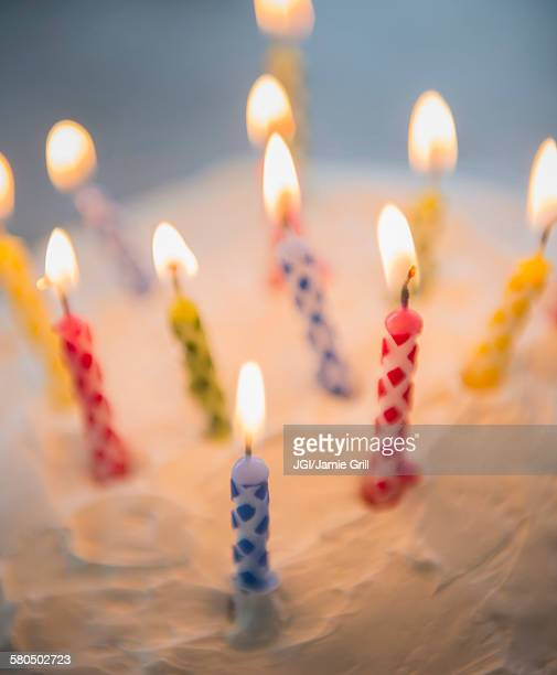Birthday Cake Lots Of Candles Stock Photos And Pictures