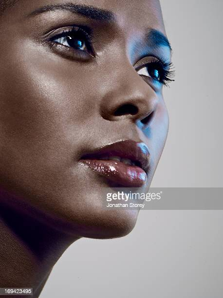 close up of black females face looking ahead - woman flashing stock pictures, royalty-free photos & images
