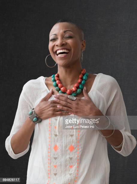 Close up of Black woman laughing