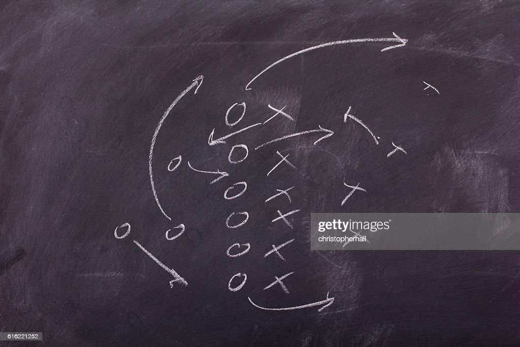 Close up of blackboard for coaching tactics : Stockfoto