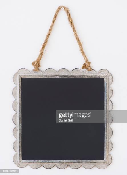 Close up of blackboard in picture frame, studio shot