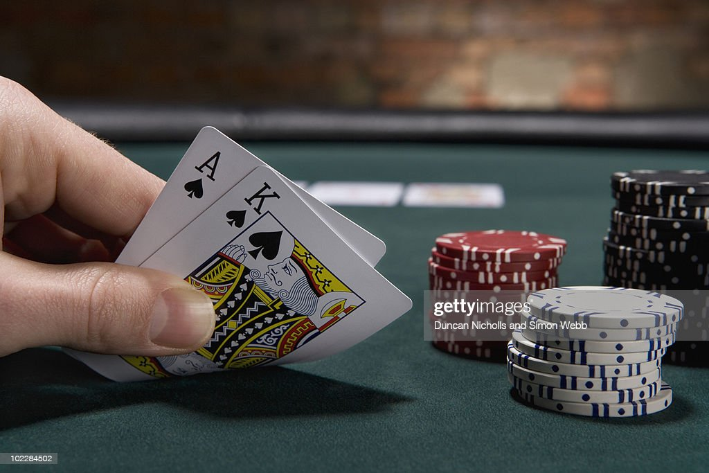 Close up of blackjack in casino : Stock Photo